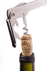 bottiglia di vino ,turacciolo e cavatappi