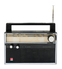 Old radio isolated on a white background with clipping path