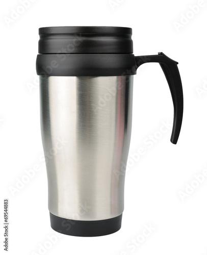 Leinwandbild Motiv Aluminum thermos mug isolated on white