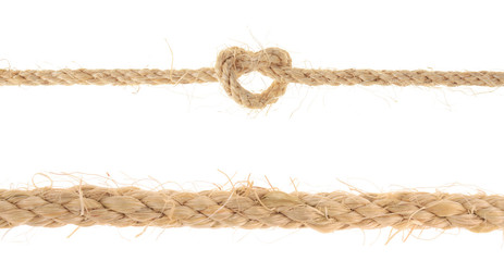 set of Jute Rope with Reef Knot isolated on white background