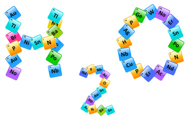 Water Molecule Made Of Elements From The Periodic Table
