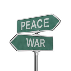 Peace and war concept roadsign board isolated