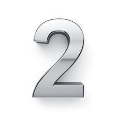 3d render of metalic digit simbol - 2