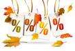 Etiketten mit Prozentzeichen u. Herbstlaub