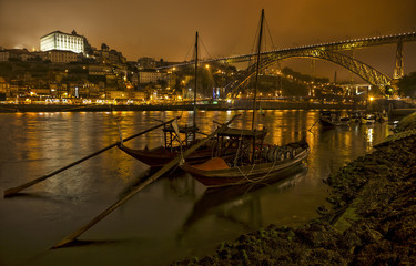Panorama old Porto with river Duoro and bridge