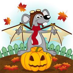 mouse dressed as bat -  vector illustration, eps