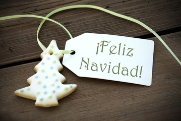 Christmas Label with Feliz Navidad