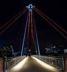 Modern Bridge (Holbeinsteg bridge) in Frankfurt, Germany