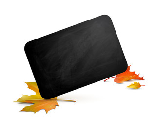 Blackboard mit Herbstlaub