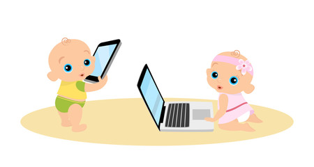 Little girl and boy are playing with laptop and tablet pc