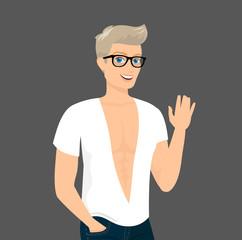 Handsome blond guy close-up vector illustration