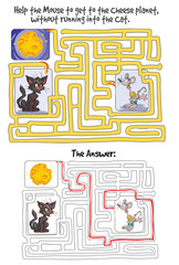 Maze Game with Mouse, Cheese planet and Cat. Answer included.