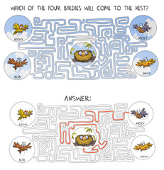 Funny Cartoon Birds maze game with answer.