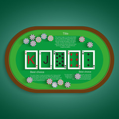 Poker table with a combination of high card