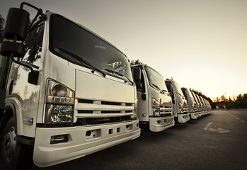 Trucks in a row