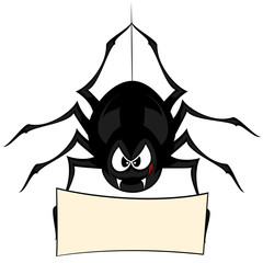 Funny freaky spider - a spider is snarling with a board