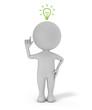 3d cute people - with light bulb idea concept