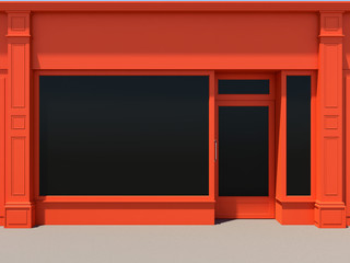 Shopfront with large windows. Orange store facade.