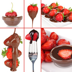 Tasty dessert collage - strawberries with chocolate isolated
