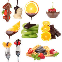 Tasty dessert collage - fruits with chocolate isolated on white