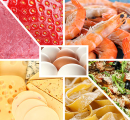 Collection of healthy fresh food backgrounds