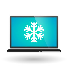 Laptop with a snow flake