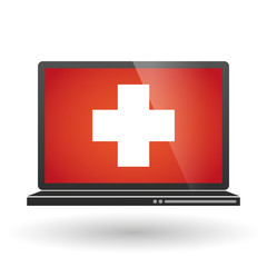 Laptop with a swiss flag