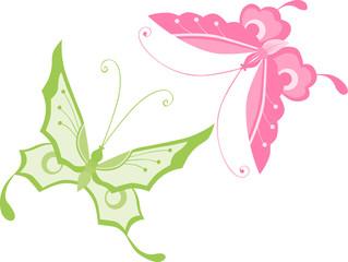 pink and green butterflies