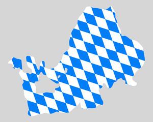 Bayerische Fahne und Karte des Chiemsees