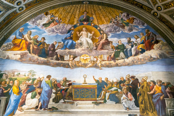 The fresco of the 16th century in the Vatican Museum.