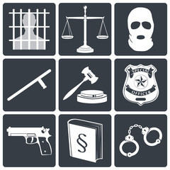 Law and justice icons white on black