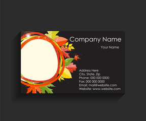 Company Business Card on Black Background. Vector Illustration