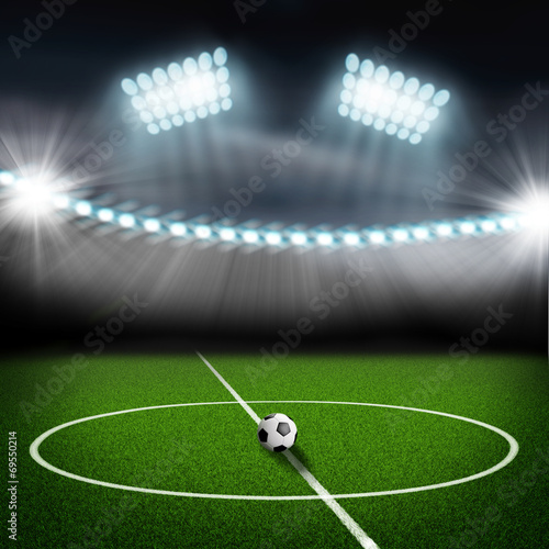 canvas print picture soccer field center and ball