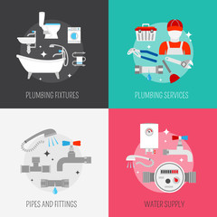 Plumber icon composition set