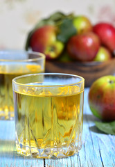 Apple juice in a glass.