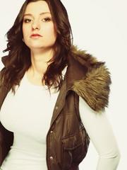 Woman in casual waistcoat. Winter fashion.