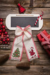 Speisekarte, Menükarte oder Weihnachtskarte mit Schild