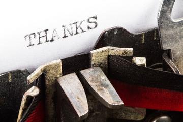 Typewriter with text thanks