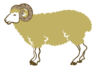 Sheep side view-Clip art