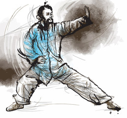 Taiji-Tai Chi. An hand drawn illustration converted into vector