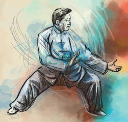 Taiji-Tai Chi. An hand drawn illustration converted into vector
