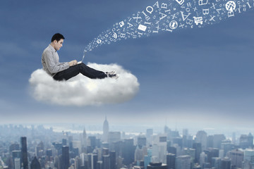 Asian man working on a cloud 1