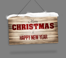 wood sign merry christmas and happy new year