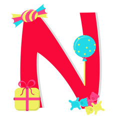 """Letter """"n"""" from stylized alphabet with candies"""