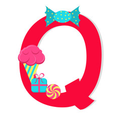 "Letter ""q from stylized alphabet with candies"