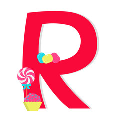 "Letter ""r from stylized alphabet with candies"