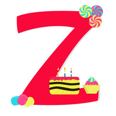 "Letter ""z"" from stylized alphabet with candies"