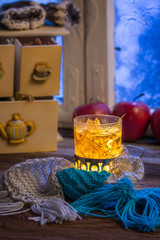 Warming tea in the winter evening