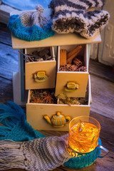 Enjoy your warming tea in winter evening