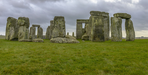 Stonehenge in a cloudy day in Wiltshire, England